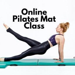 Online Pilates Mat Classes Lesley Logan Leg Pull Front Black