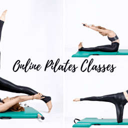 Online Mat Pilates Classes Lesley Logan Control Balance Kneeling Side Kick Black OPC